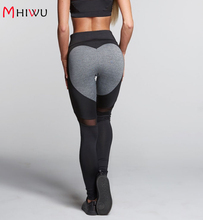 MHIWU 2018 Women Fashion Gothic Push Up Ladies Mesh Pants Love Heart Black Leggings Casual Pants High Waist Sexy Leggings WLS14