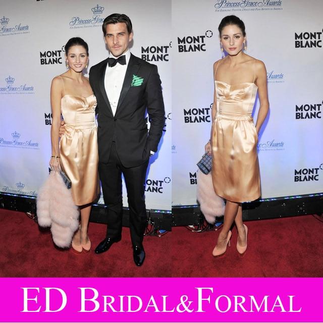Olivia Palermo Correas Espaguetis Homecoming Cocktail Party Dress Princesa Grace Gala de Los Premios
