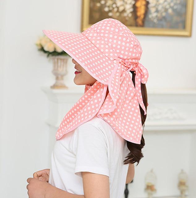 Покрыть лицо солнцезащитный крем шляпы женский летний открытый складной солнце шлем козырек анти-уф велоспорт шеи поддержки