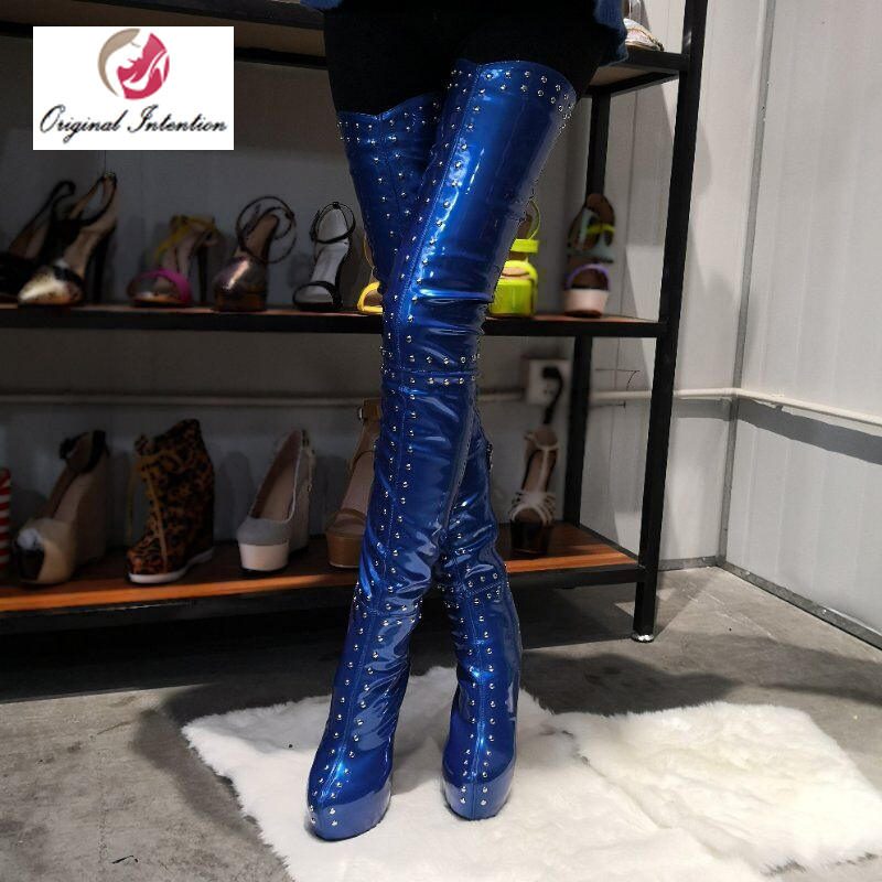 L'intention initiale Élégant Femmes Over-the-genou Bottes D'hiver Plate-Forme Glitter Cuisse Haute Bottes Bout Rond Talons chaussures pour femme size20