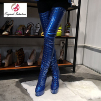 Original Intention Stylish Women Over the knee Boots Winter Platform Glitter Thigh High Boots Round Toe Heels Shoes Woman Size20