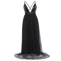 Women Sexy Backless Dress Deep V Neck Paillette Mesh Patchwork Sleeveless Dress Evening Party Sequined Floor