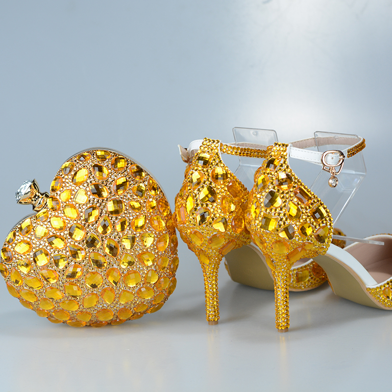 BaoYaFang Golden Crystal wedding shoes and bags set Ladies Party shoes Fashion dress shoes with matching