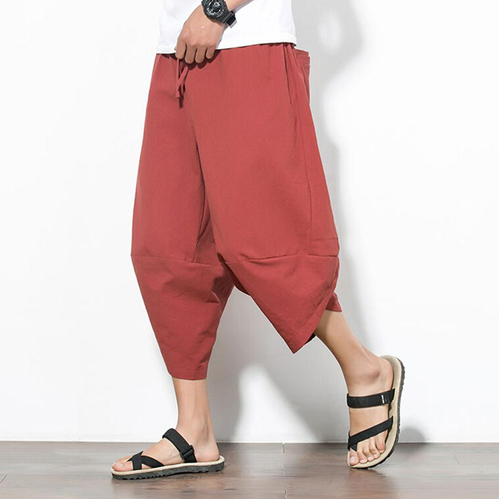 New Men Summer Casual Plus Size Solid Color Cropped Harem Pants Wide Leg Trousers