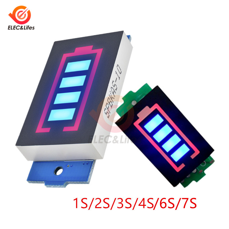 1S <font><b>2S</b></font> 3S 4S 6S 7S 18650 Lithium <font><b>Battery</b></font> Capacity <font><b>Indicator</b></font> Module Display for car motorcycle <font><b>Battery</b></font> Power Tester Li-po Li-ion image