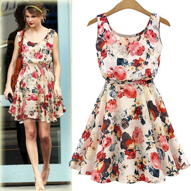 Free Shipping 2015 summer women's fashion new flower printed vest chiffon dress