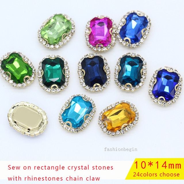 15p 10x14mm Octagon color Sewing on crystal rhinestones chain flower gold  claw Glass Chatons trim Gems for wedding dancing Dress 66d0533c2044