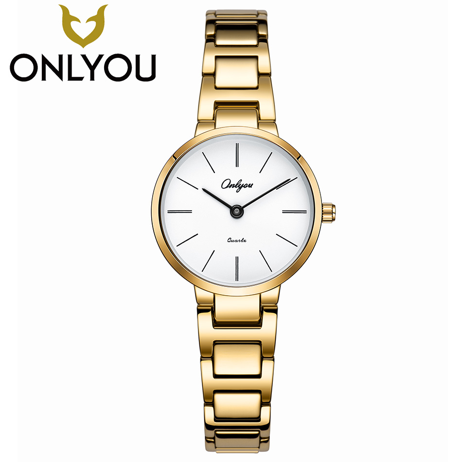 ONLYOU Women Watches Luxury Fashion Gold Wristwatch Ladies Casual Simple Quartz Clock Female Business Dress Gift Watch onlyou women top brand luxury crystal diamond watches ladies fashion casual clock woman rose gold quartz gift watch wholesale