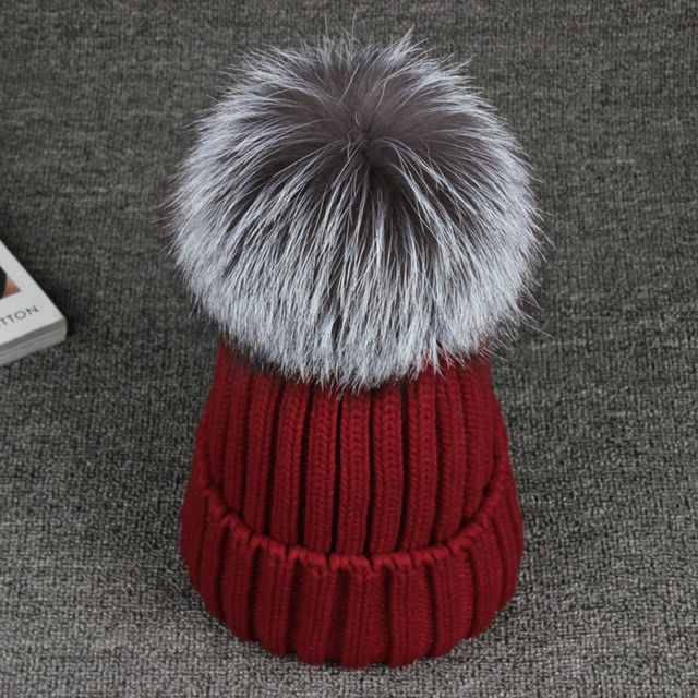 Women Winter Cap Fox Fur  13cm Ball Hat Pom poms Woollen Cap Lady Beanies Warm Cap Beanie Headgear Girls Knitted Cap Hat female