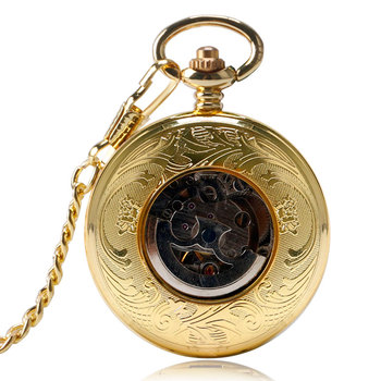 Bronze Golden Automatic Mechanical Pocket Watch Antique Shield Steampunk Men Women Pendant Fob Chain Special Gift for Friends golden black sliver antique hollow automatic mechanical pocket watch fob chain hand winding full steel sculpture for men wome