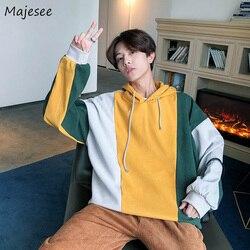 Hoodies Men Hooded Plus Velvet Leisure Letter Printed Sweatshirts Mens Patchwork Korean Style Ulzzang Trendy Students Pullovers 4