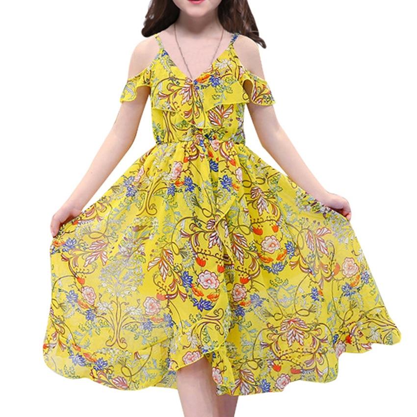 Богемное пляжное платье для Летняя Одежда для девочек новые летние без рукавов с принтом Изящный сарафан для маленьких детей v-образным выр...