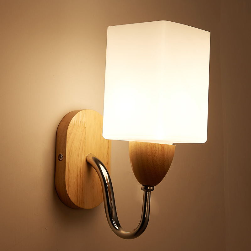 NEO Gleam E27 Wall Lamp Sconce Light Wooden Modern Home Decoration wall Light for Bedside Bedroom/Dinning Room/Restroom  цена