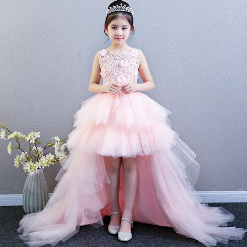 Luxury Baby Dress Detachable Long Trailing Baby Girl Dresses Ball Gown Flower Girl Dresses for Wedding Kids Evening Gowns Y460