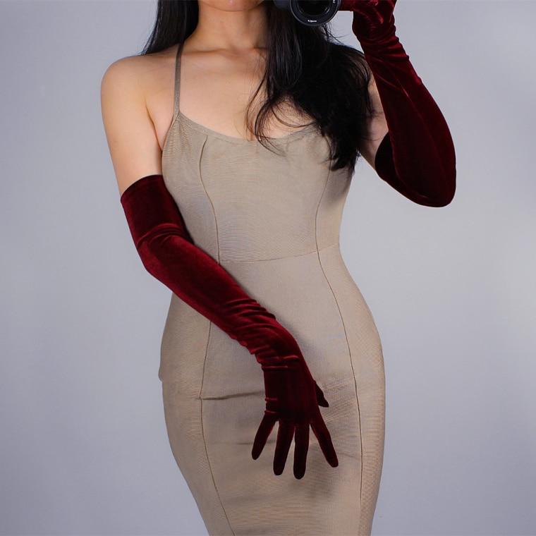 Women's Elegant Elastic Velvet Touchscreen Long Gloves Female Wine Red Color Pleuche Party Driving Glove 60cm R1246