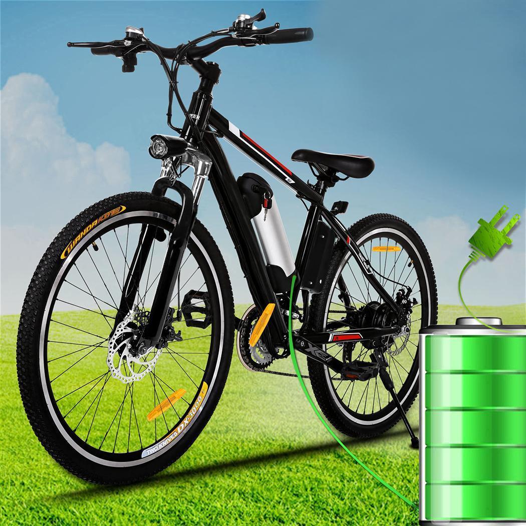 ANCHEER 26 polegada Montanha Bicicletas Elétricas Da Bicicleta Freio A Disco Liga de Alumínio Quadro de Estrada Da Bicicleta Ciclismo Preto Freios Mecânicos