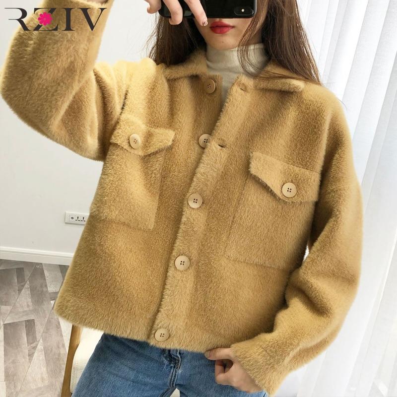 Rziv 2019 봄 자켓 여성 코트 캐주얼 자켓 옷깃 긴팔 솔리드 컬러 포켓 장식 플러시 자켓-에서베이식 쟈켓부터 여성 의류 의  그룹 1
