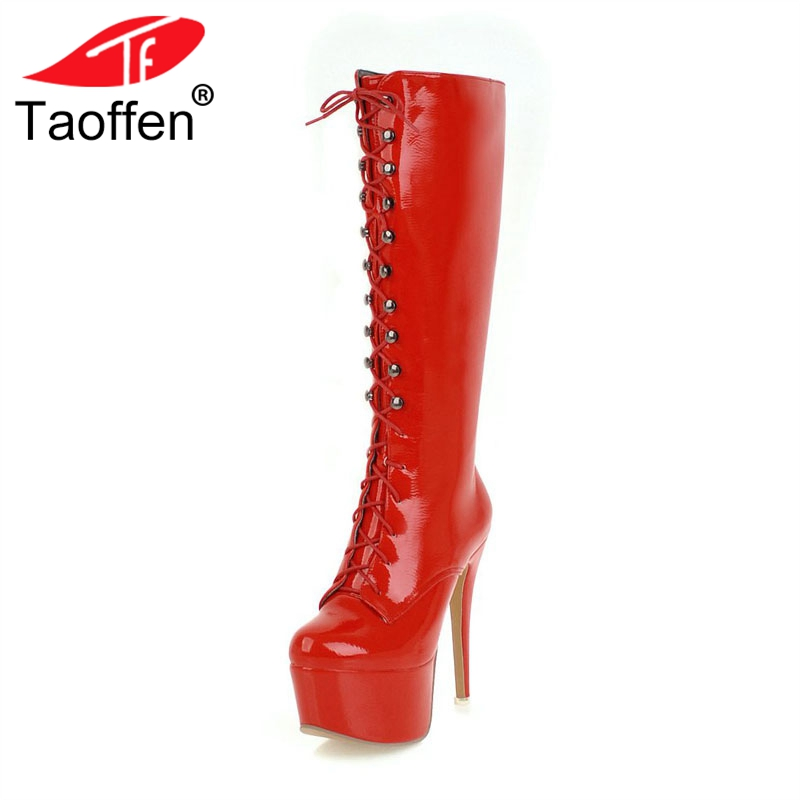 TAOFFEN Women High Heels Boots High Platform Fur Winter Shoes Woman Cross Strap Knee Boots Fashion Sexy Long Boots Size 33-48 annymoli women boots winter platform extreme high heels boots sexy fashion boots red bridal wedding party shoes big size 33 43