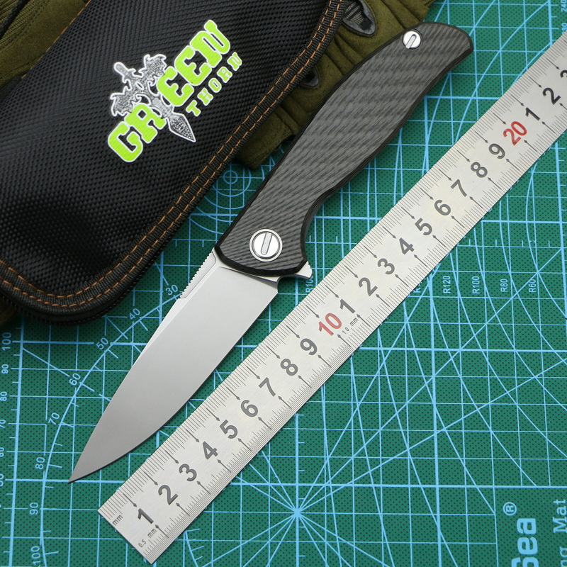 Green thorn custom F95 HATI folding knife carbon fiber 3D TC4 titanium handle camping outdoor fruit