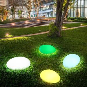 Image 1 - Solar Lights Outdoor, Glow Cobble Stone Shape Solar Garden Light Waterproof Color Changing Landscape Lights with Remote Control