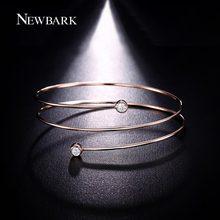 NEWBARK Three Round Spiral Bangles Top Bezel Setting Round Clear Cubic Zirconia Diamond Bracelets & Bangles Lightweight Pulseira