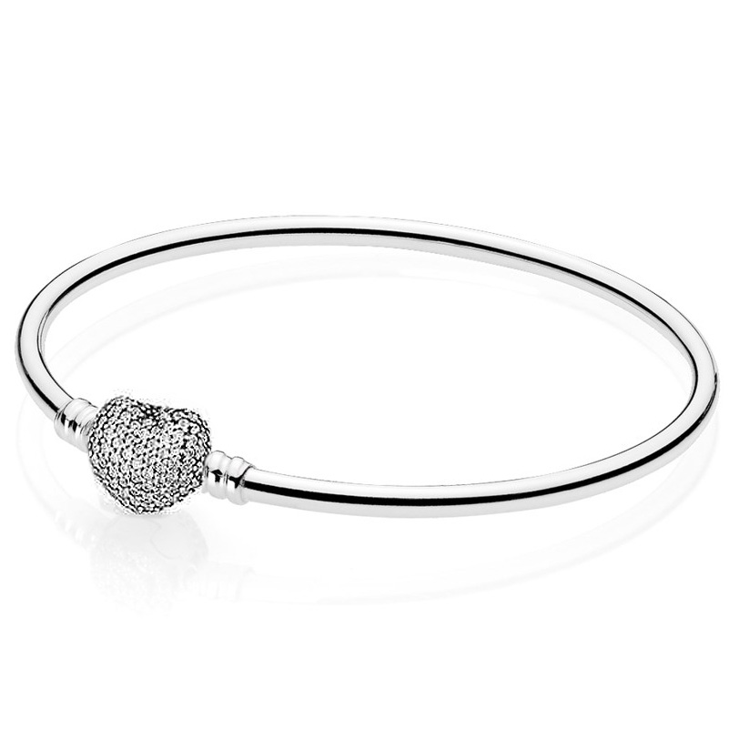 Authenetic 925 Sterling Silver Bangle Moments Pave Heart Clasp Crystal Bracelet Bangle Fit Women Bead Charm DIY Pandora Jewelry beaded detail heart charm bangle