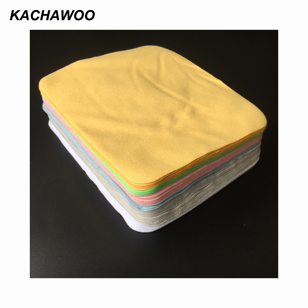 Kachawoo 175mm x 145mm 100pcs microfibre cleaning cloth glasses high quality chamois microfiber cloth for glasses accessories