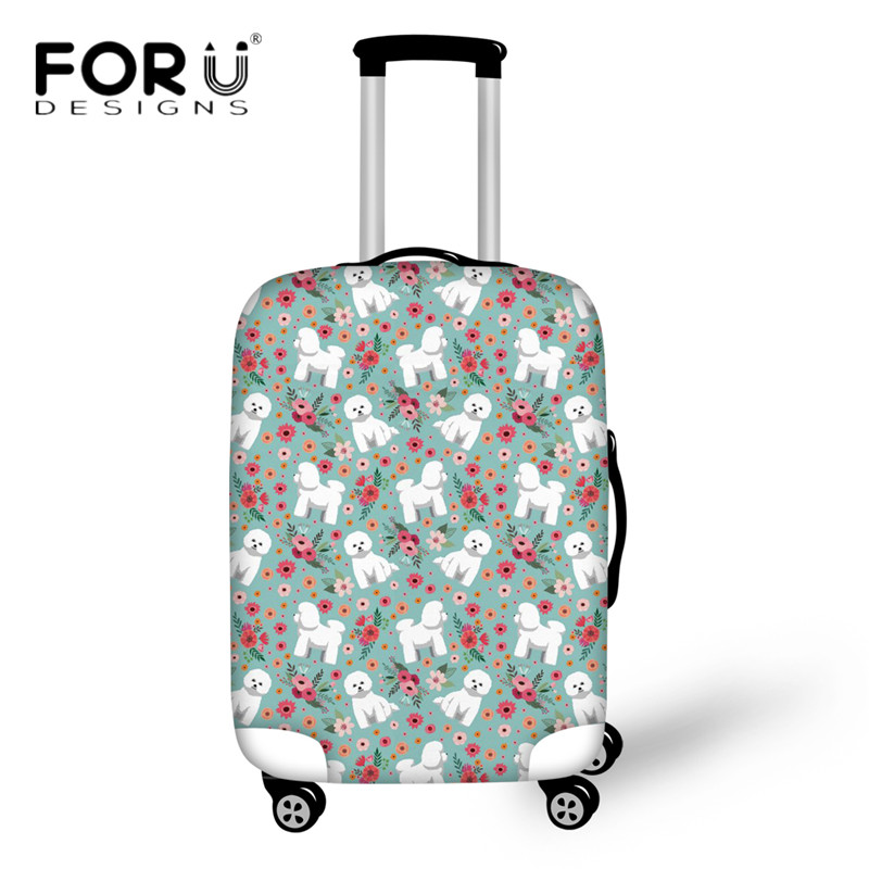FORUDESIGNS Travel Luggage Protective Cover Cute Bichon Frise Flower Printing Dust Rain Covers For 18-30 Inch Trolley Suitcase