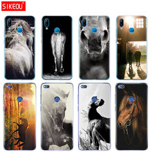 Silicone Cover Phone Case For Huawei P20 P7 P8 P9 P10 Lite Plus Pro 2017 P Smart Sunset and horse(China)