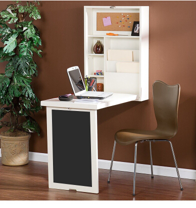 Купить с кэшбэком Variable folding multi-function wall-mounted bookcase, desk bar, small family computer desk desk on the wall