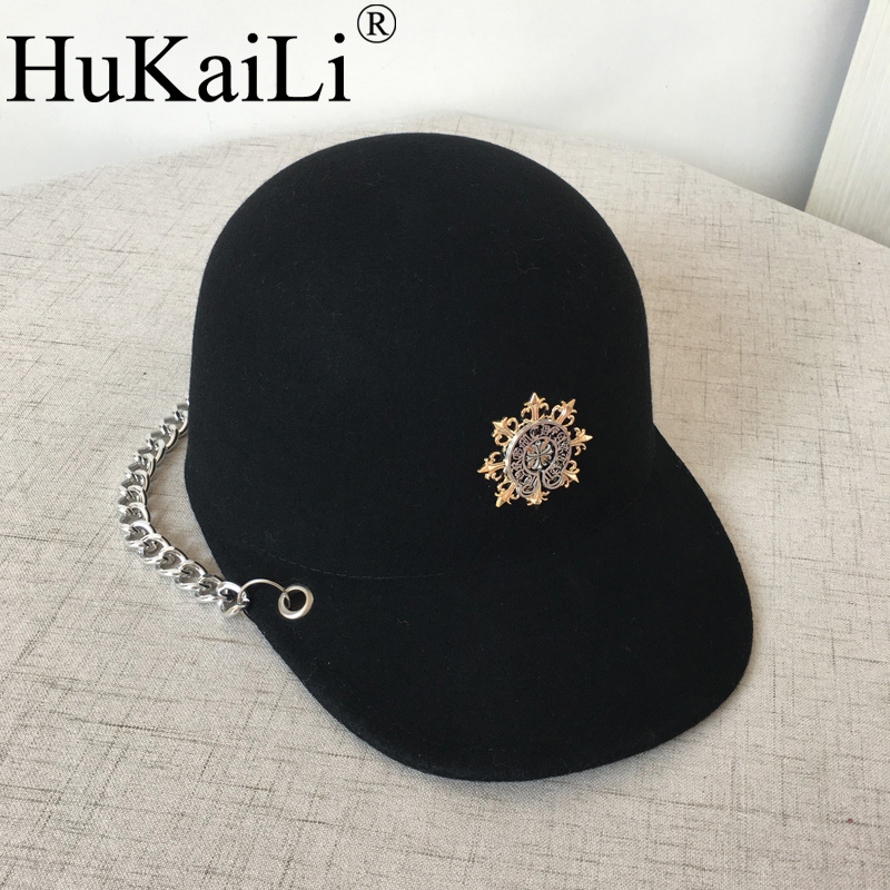 Knights of the new han edition wool equestrian hat, baseball cap hats for men and women metal chain badge knights of the new han edition wool equestrian hat baseball cap hats for men and women metal chain badge