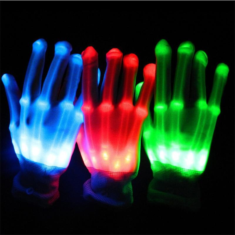 Freies Verschiffen Echte Förderung Led Kleidung 1 Paar Unisex Beleuchtung Herauf Led Handschuhe Flash Für Partydekorationen Tanzen Leuchtende Spielzeug