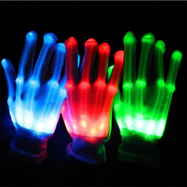 Gants lumineux en Fiber dos pour jouets | Jouets en peluche, squelette, fournitures de jouets clignotantes pour la fête, gants scintillants dans la nuit, accessoires de pub danse de Club