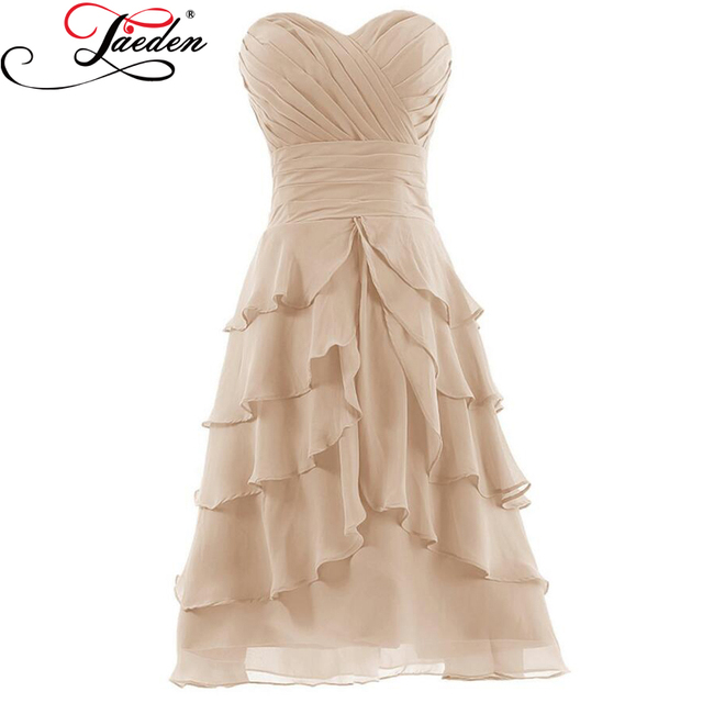 JAEDEN In Stock Cheap Champagne Short Party Gowns Sleeveless Tiered Chiffon A Line Pleats 2017 Sweetheart Neck Cocktail Dresses