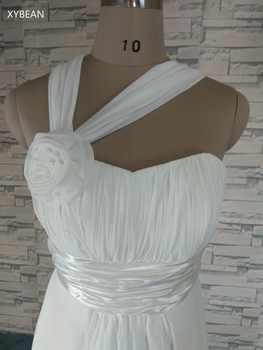 2019 New Free Shipping Halter Straps Handmade Flower Chiffon Beach White Ivory Wedding Dresses
