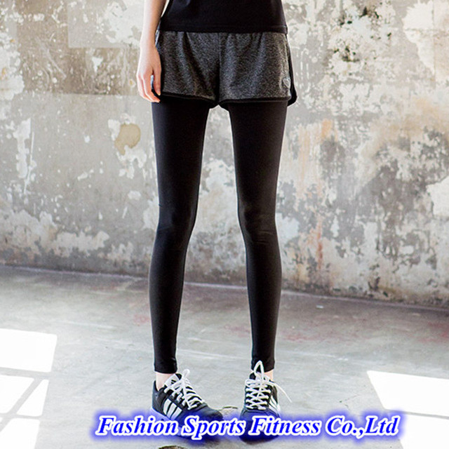 447966c1fa9fdb Women Running Yoga Pants With Shorts Skirt Trousers Workout Clothes Sport  Slim Fitness Sports Leggings For Gym Clothing E93