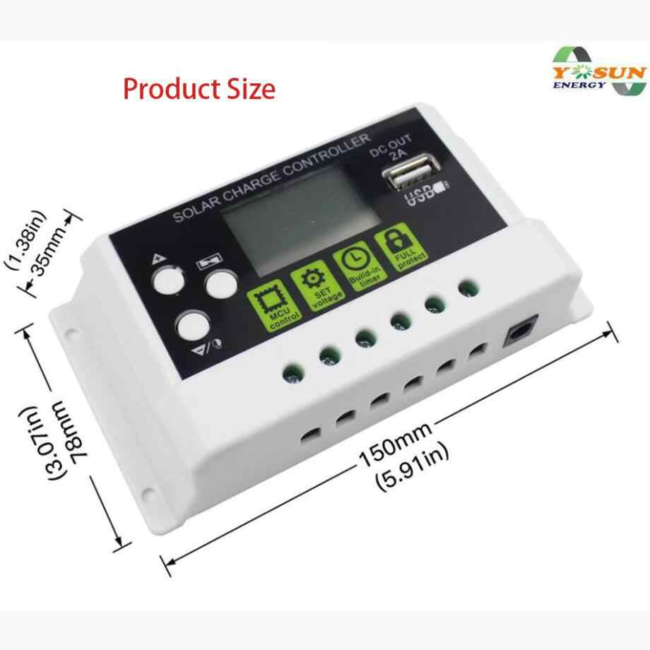 PWM Solar Charger Contoller 30A 20A 10A 12V 24V Auto Solar Charge Controller Solar PV Regulators with LCD Display 5V USB Output
