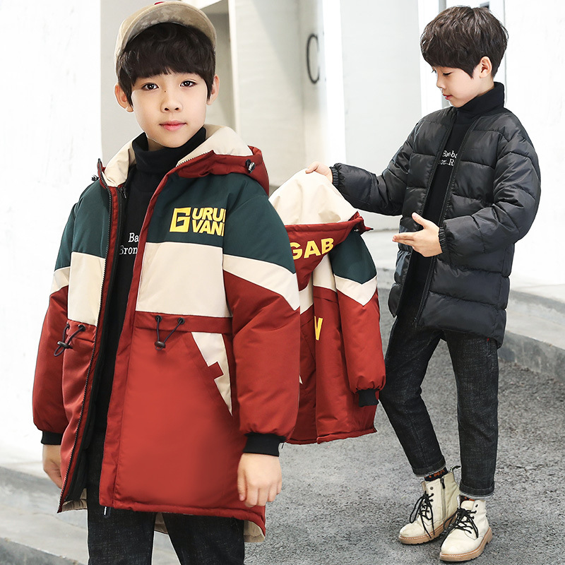 Boys Cotton Jacket Children Winter Warm Coat Kids New Casual Hooded Jacket Korean Version Red Black
