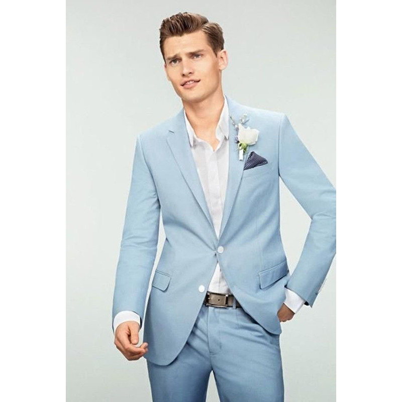 Custom Made New Mens Wedding Suits Light Blue Groom Tuxedos 2 Piece Groomsman Party Suits Men Tuxedos (Jacket+Pants)