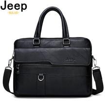 13.3 インチラップトップの作業のための旅行バッグ黒 ジープ 男性のビジネスハンドバッグホット大容量革男