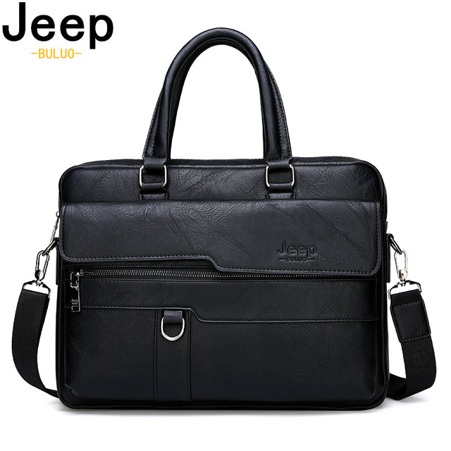 JEEP BULUO Men's Business Handbag New Hot Large Capacity Leather Briefcase Bags For Man 14' inches Laptop Work Travel Bag Black