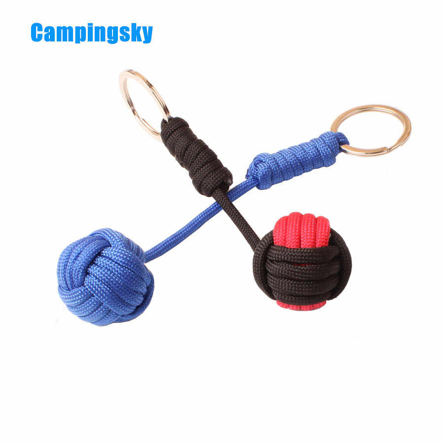Outdoor Mon-key Fist Paracord Steel Ball Lanyard Survival Tool For Camping
