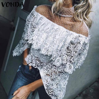 Women Summer Lace Blouse VONDA 2019 Fashion Tops Female Crochet Off Shoulder Shirt Casual Loose Blusas Plus Size Women's Tunic