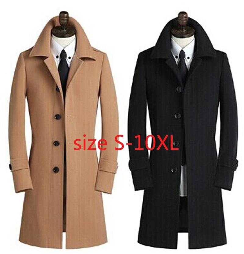 2019 Neue Ankunft Hohe Qualität Männer Wolle Mantel Mode Lässig Oberbekleidung 30% Kaschmir Mantel Plus Größe 4xl 5xl 6xl 7xl 8xl9xl10xl