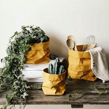 Paper bag vases Nordic fashion decor flower vases table top planters storage bags brown paper organizer