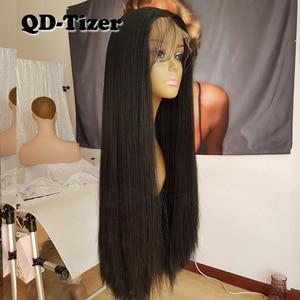 Image 5 - Lange Yaki Gerade Haar Schwarz Farbe Synthetische Lace Front Perücken Glueless Weiche 180 Dichte Spitze Vorne Perücke Yaki Haar für frauen