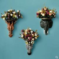 Creative animal head vase, wall decoration, Nordic living room wall decoration, deer head, elephant head, zebra head