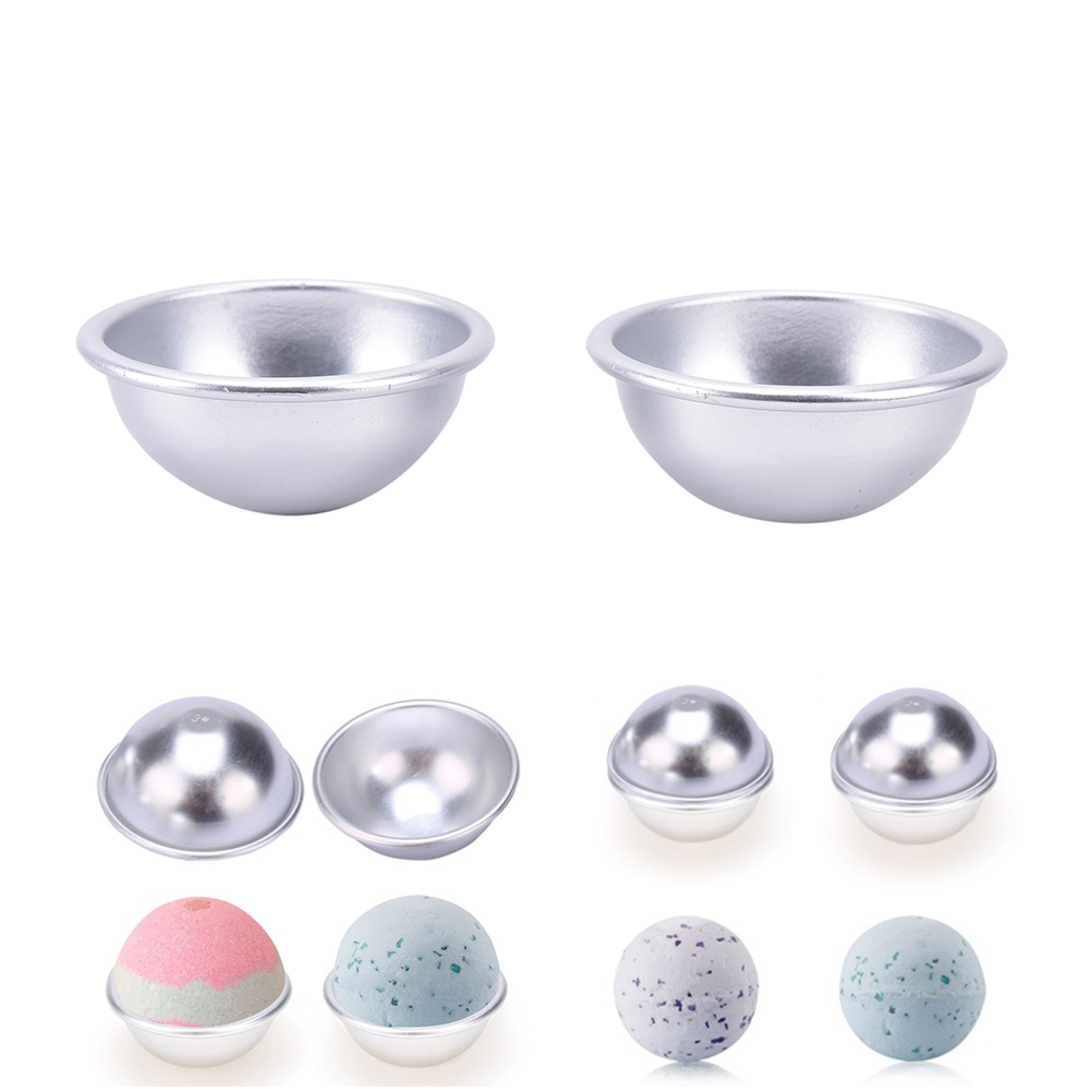 2 Pcs Creative Pastry Mould Aluminum Bath Bomb Mold Half Round 3D Ball DIY Bathing Tool Accessories