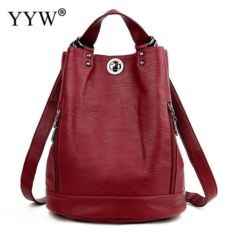 Women Backpack Soft-Surface Hand-Bags High-Quality Pu Bucket-Bag Celebrity Striped Red