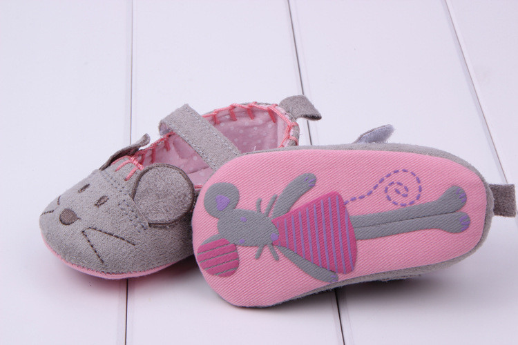 Cute Baby Girls First walkers Cotton Grey Cartoon Mouse Soft with Pattern Shading Soft Sole Baby Toldder Prewalkers Shoe 3 size 6